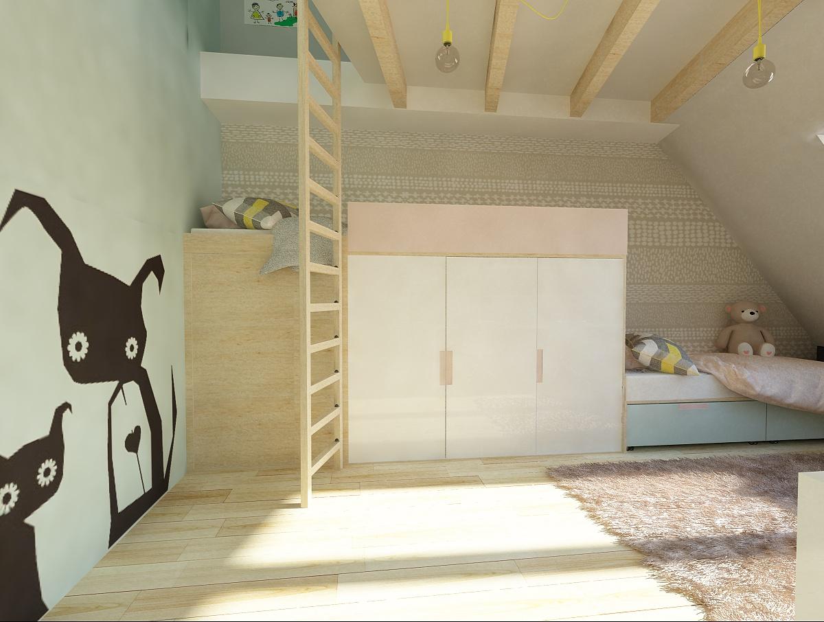 f21ec6a6fde57 Vyvýšená posteľ dokáže vyriešiť aj problém s úložnými priestormi. Izba pod  strechou ponúka aj ďalšiu