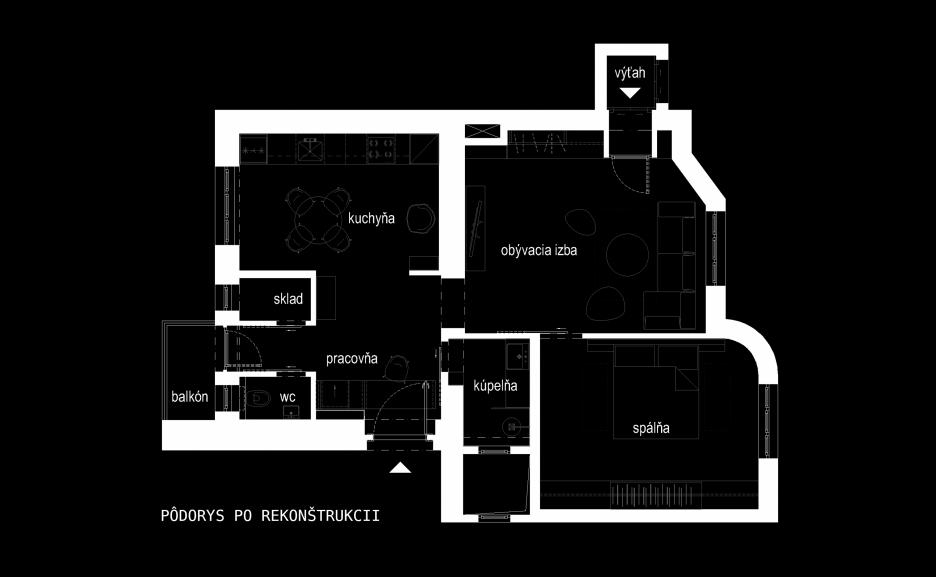 Pôdorys bytu po rekonštrukcii
