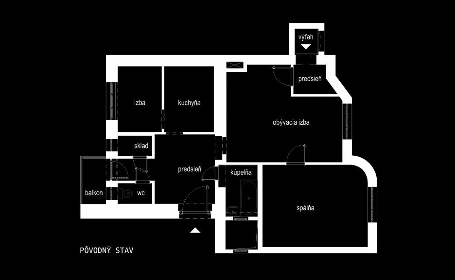 Pôvodný pôdorys bytu pred rekonštrukciou