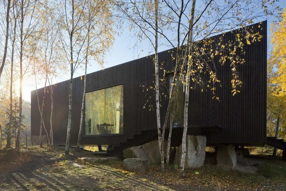 Založení domu na žulových blocích umožnilo ponechat v těsné blízkosti stavby i vzrostlé břízy.