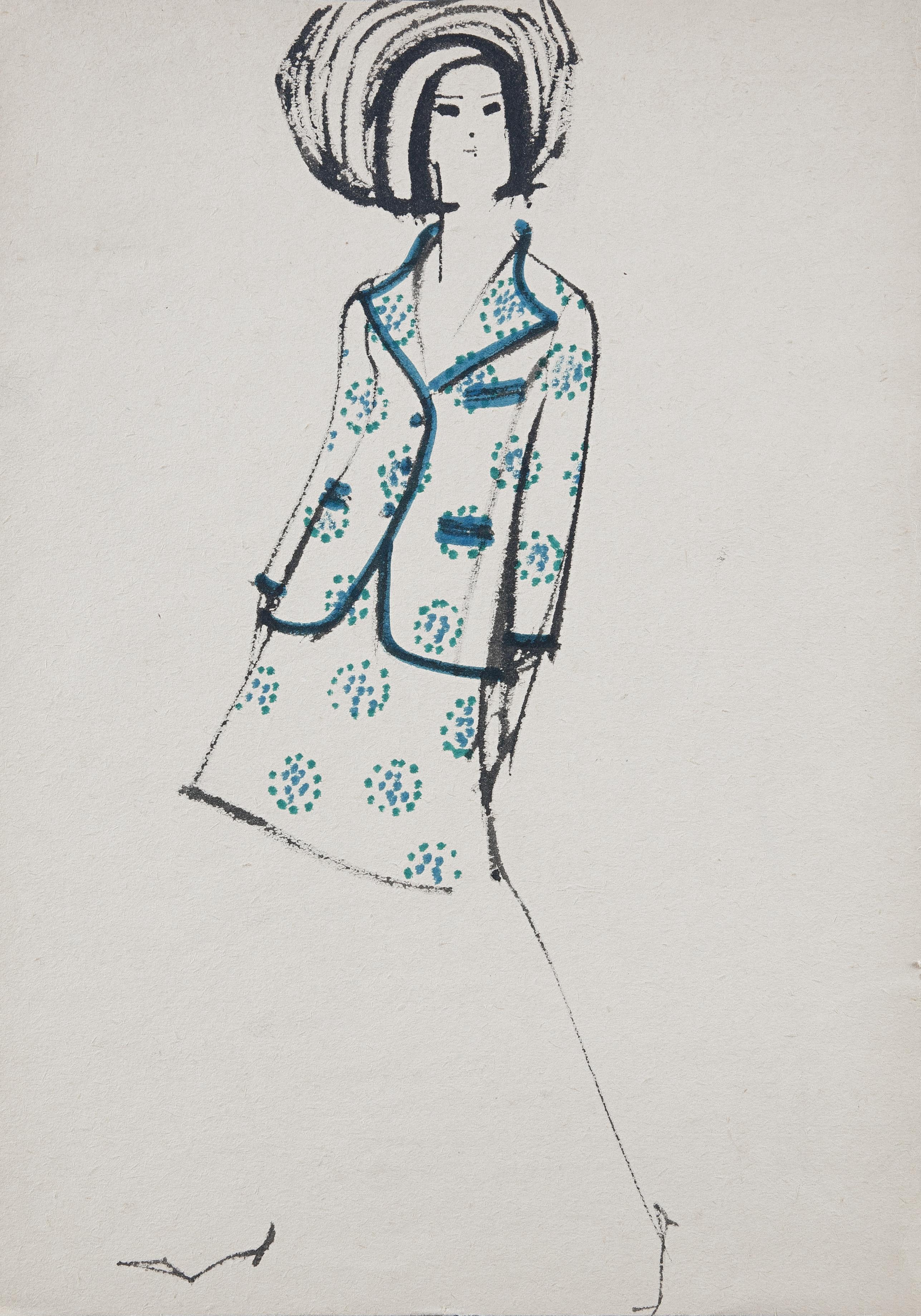 9e66d2028f96 Vlasta Hegerová  Módna kresba. Vývojový ateliér časopisu Naša móda. 1967.  SNG